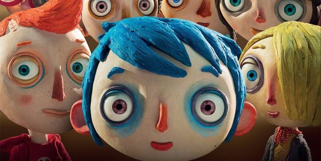 Escena de la película con Calabacín y sus amigos delante de la cámara
