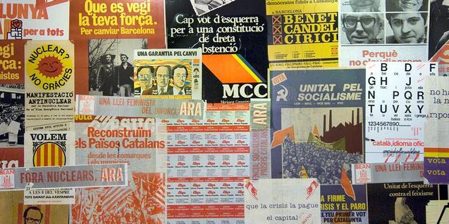 Collage de carteles y reivindicaciones políticas