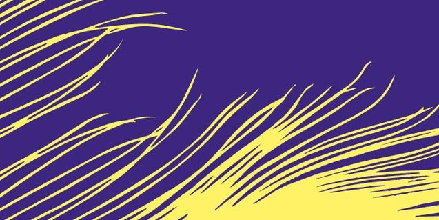 Una imagen abstracta con líneas amarillas sobre un fondo azul sirve de cartel para anunciar las actividades