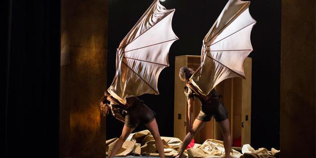 Fotografia de l'espectacle de dos ballerins aixecant una ala de roba