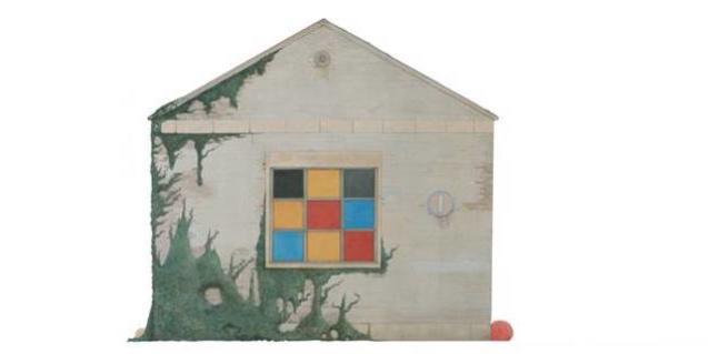 Pintura de un edificio de fantasía con una ventana de colores