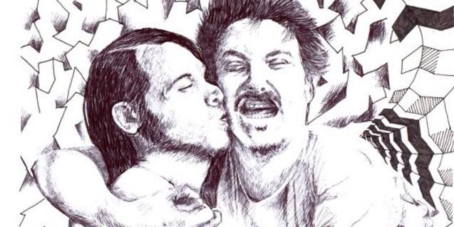 Un dibuix que mostra els dos integrants de Za! abraçats i fent-se un petó