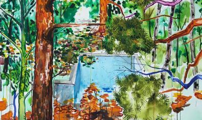 Una de les obres de l'artista mostra una bassa artificial abandonada entre els arbres d'un bosc