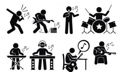 Una serie de pictogramas muestran personas tocando instrumentos de todo tipo