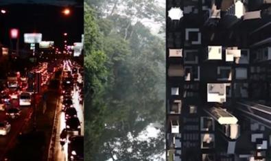 Una imatge d'un dels vídeos que es poden veure al web del CCCB i que combina imatges de ciutats i espais naturals