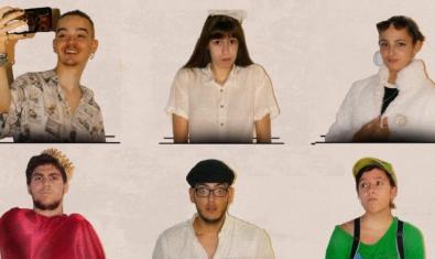 Retrats de mig cos de sis dels actors i actrius que formen part del repartiment