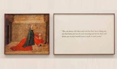 Una de las piezas de la exposición muestra una antigua imagen con una mujer cabalgando a lomos de un hombre