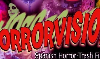 Cartel que anuncia el encuentro con la palabra Horrorvision escrita en color rojo sangre y con diversas figuras fantasmagóricas dibujadas alrededor