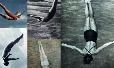 Un collage d'imatges de persones submergint-se dins l'aigua