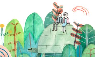 Ilustración del cartel, un señor y una señora sentados encima de una tortuga