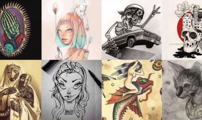 Collage con obras de diversos artistas del tatuaje presentes en la exposición