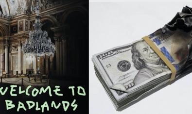 Una de las pinturas hiperrealistas (a la izquierda) y una de las esculturas en forma de fajo de billetes quemados (a la derecha) del artista Alejandro Monge