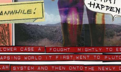 Un fragment d'una de les obres que es poden veure a l'exposició i que inclou imatges retallades i un text