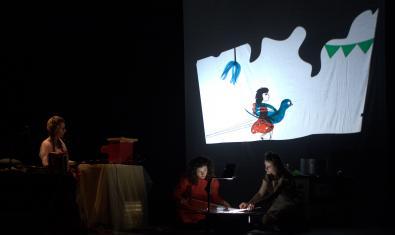 Fotografia de l'espectacle en la que es veu la projecció d'ombres