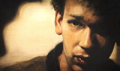 Una obra de la artista María Dávila que se puede ver a la exposición y que muestra el retrato de un hombre joven