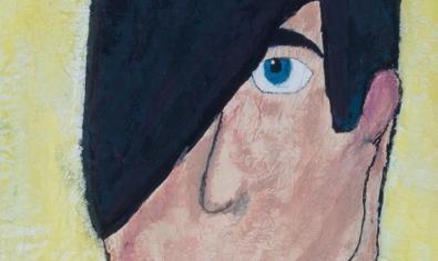 Una obra que mostra el retrat d'una persona amb el cabell cobrint-li mitja cara