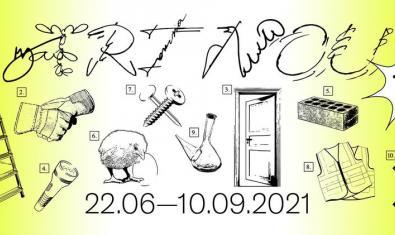 Un collage de imágenes dibujadas que incluye desde un pollito a una puerta pasando por un porrón en el cartel que anuncia la nueva edición de esta cita con el arte emergente