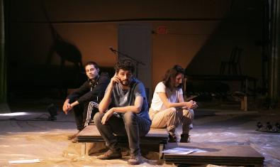 Els tres intèrprets de l'obra 'Assedegats'
