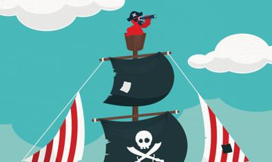 Ilustración de un barco pirata