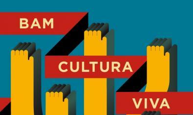 Cartel de Cultura Viva que muestra el dibujo de cuatro manos levantadas