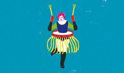 El dibuix d'una dona tocant un tambor obra de Sonia Pulido il·lustra l'anunci d'aquesta trobada