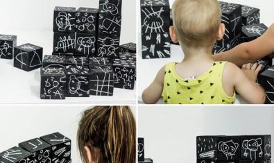 Fotografies d'una peça de l'exposició i nens interactuant