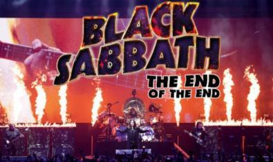 El cartell del film mostra una gran guitarra de fons i en primer pla una actuació de la banda Black Sabbath