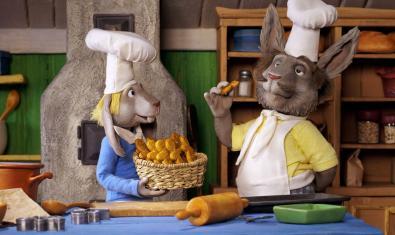 Fotograma de la pel·lícula, dos conills fent galetes