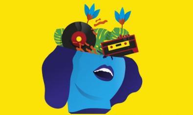 El dibujo de una cabeza de chica con discos y cintas de cassette como ojos en el cartel de la edición de este año