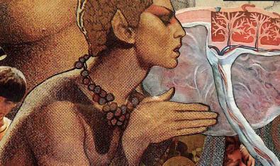 Una de las imágenes del artista Daniel Zerbs, que muestra el perfil de una especie de elfo realizado con técnicas de collage