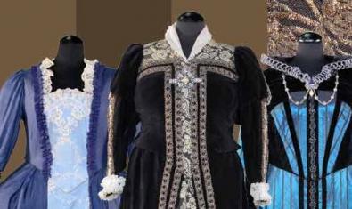 Tres de los vestidos que empleó en diversas representaciones la soprano Montserrat Caballé