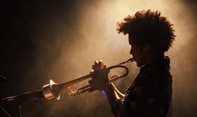 Retrat de l'artista a contrallum amb els cabells arrissats i tocant la trompeta