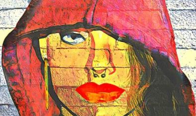 El cartell de l'espectacle mostra una pintada amb el retrat d'una jove amb caputxa vermella i un piercing al nas