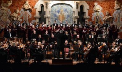The orchestra playing at the Palau de la Música.