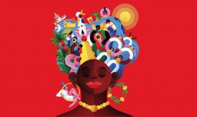 Una Mercè mestissa amb elements de la ciutat entre els cabells al cartell de la festa major d'enguany