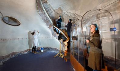 Interior de la Casa Batlló en el decurs de les feines de restauració