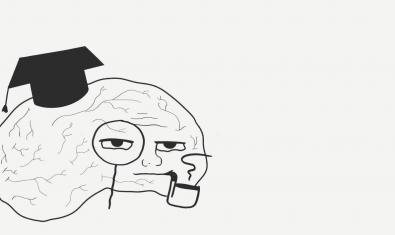 El dibuix d'un cervell humà amb gorra d'universitari i ulleres serveix per promocionar l'espectacle