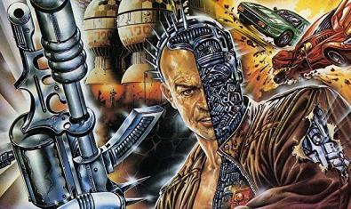 El cartel de este film italiano muestra un guerrero cíborg con sus armas en la mano