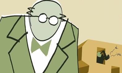Dibuix d'un home amb ulleres que serveix de cartell del film