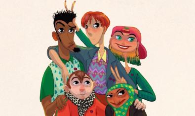 Dibuix dels personatges protagonistes de l'exposició que mostren diversitat d'edats d'orígens i de gènere