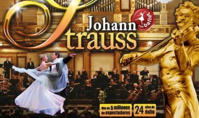 Johann Strauss tocant el violí i, al fons, tota l'orquestra amb una parella ballant el vals.