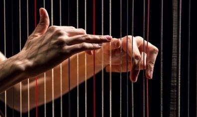 Dos manos tocando las cuerdas de un instrumento.