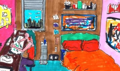 Una de las imágenes de la exposición muestra a una chica trabajando en su habitación