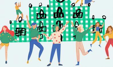 Unas figuras humanas bailan ante el edificio de Mas Guinardó en una ilustración que anuncia las actividades