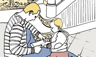 Ilustraión del cartel, padre e hijo mirando un cuento