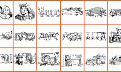 Una selección de dibujos antiguos con escenas de oficios y de la vida cotidiana ilustran los cuentos