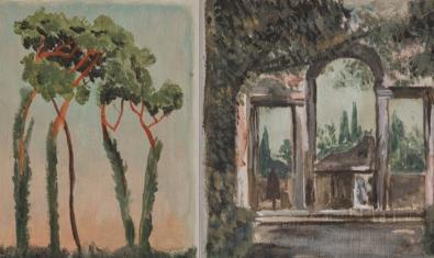 Dos de las obras que forman parte de la exposición y que muestran paisajes con un toque de misterio