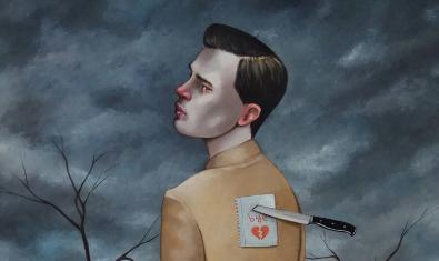 Una de les obres de l'artista mostra un home amb un missatge en forma de cor clavat a l'esquena amb un punyal