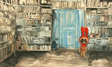 Un dels quadres de l'exposició mostra un ésser fantàstic amb la boca cosida i grans orelles a l'interior d'una biblioteca plena de llibres