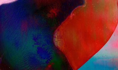 Una imatge abstracta en colors vermell i blau serveix de cartell per anunciar l'activitat